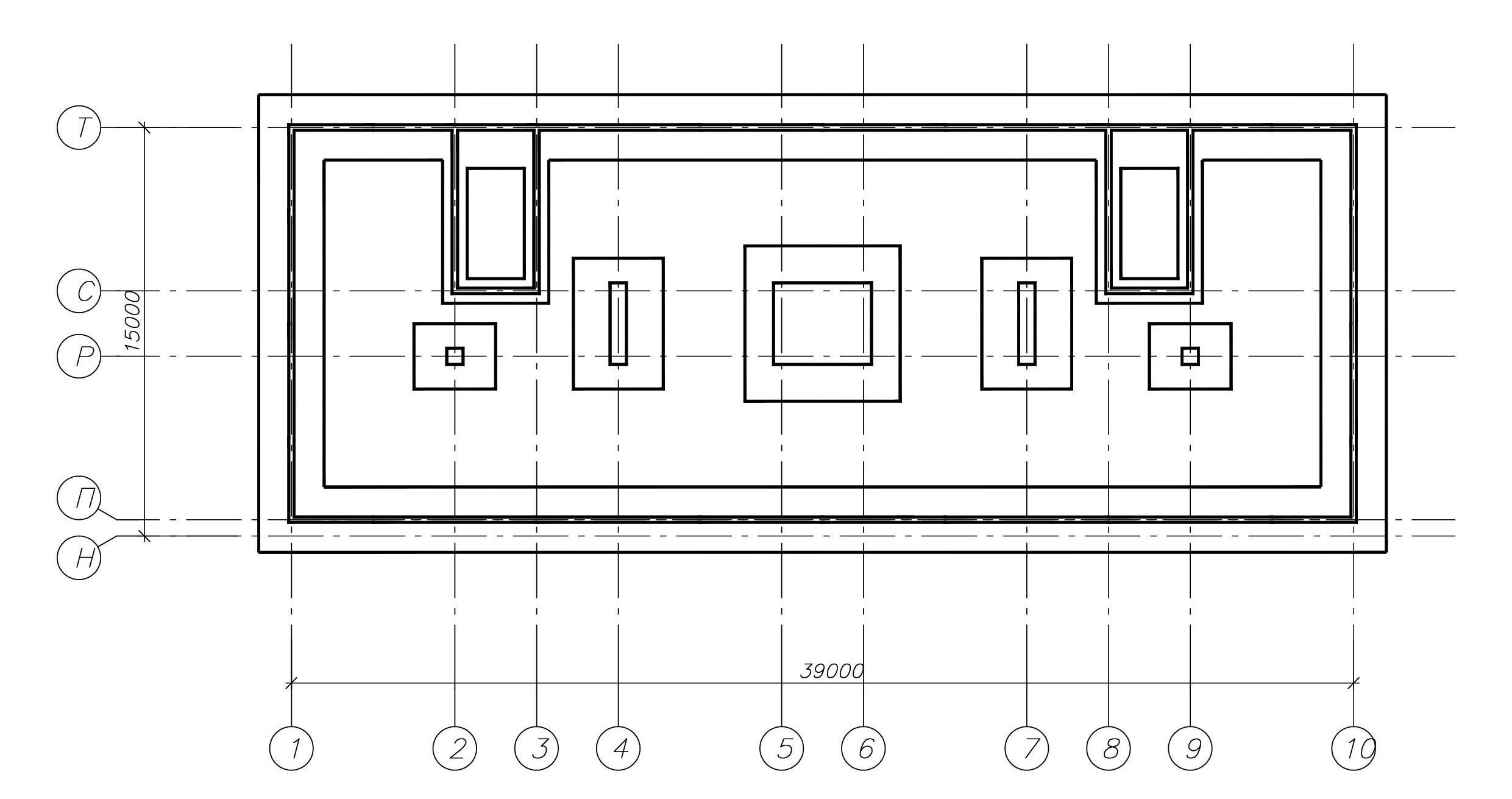 План ленточных и столбчатых фундаментов полученный в результате расчета по ФОК-Комплекс.